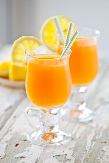 Couple Of Glasses Of Refreshing Carrot Juice