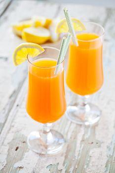 Glasses Of Refreshing Carrot Juice
