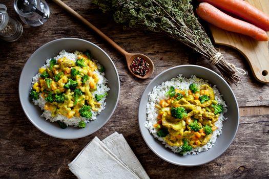 Homemade Bowls Of Pork And Broccoli Stir Fry
