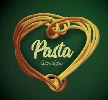 Pasta in the form of heart.. Traditional dish of Italian cuisine. Vector illustration.