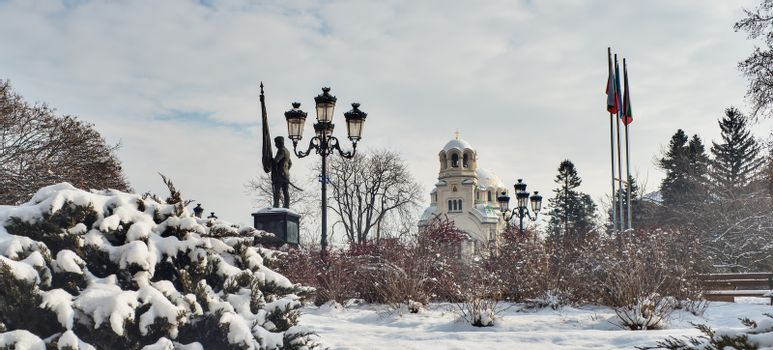 Aleksandar Nevski cathedral winter time with snow, Sofia, Bulgaria, Europe