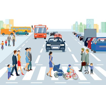 big city with road traffic and pedestrian, illustration