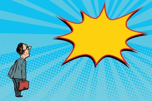businessman and comic book pop art bubble