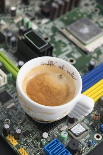 break work with an expresso coffee