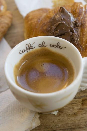 expresso coffee and chocolate filled croissant