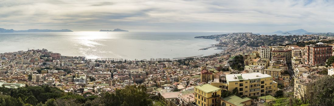 Panoramic view of bay of Naples. Italy, from the Castle St. Elmo