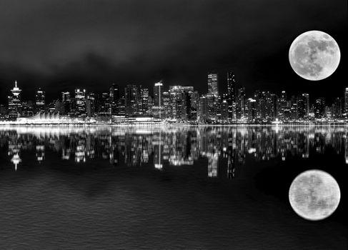 Vancouver Night Full Moon