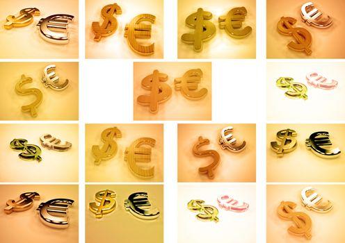 3D Currencies symbols illustration. 3d rendering.