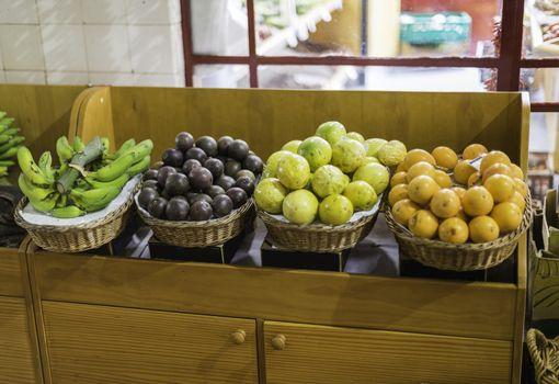 banana lemon orange and other tropical fruit on the fruit market in Funchal madeira