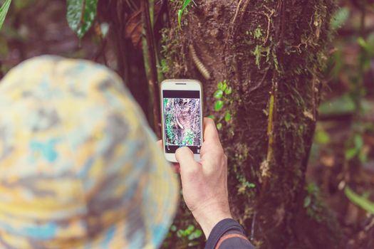 Tourist in jungle