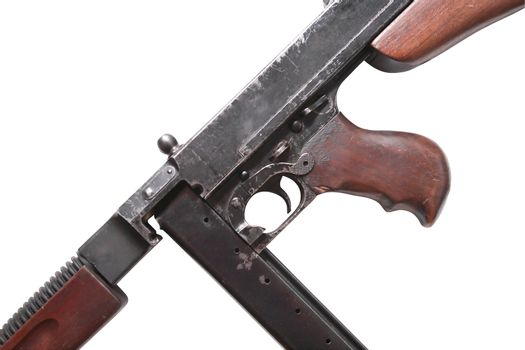Old USA submachine gun isolated on white background