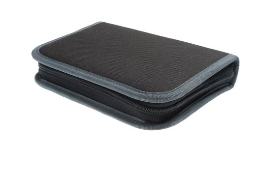 gray closed zipped pencil case for writing utensils