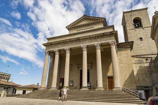 SAN MARINO REPUBLIC - JUNE 18: the classical facade of the famous Basilica on June 18, 2017 in San Marino Republic