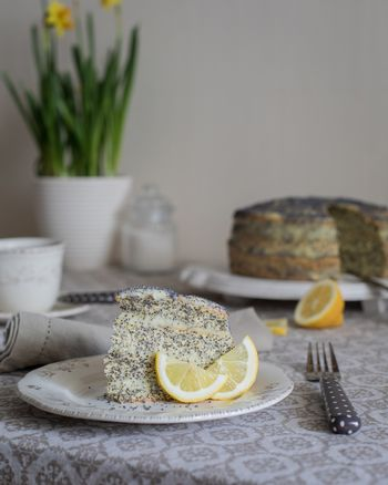 A piece of Cake with poppy seeds and lemon cream and a cup of tea