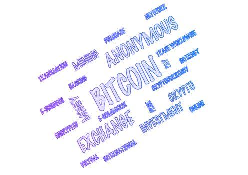 Word Cloud - Bitcoin. 3D illustration.