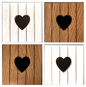 Wooden compartments with heart design