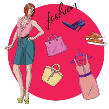 Fashion Vector Illustration. Beautiful young model woman with clothes and accessories
