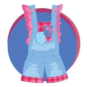 Fashion Vector Illustration. Stylish denim overalls icon. Elegant outfit