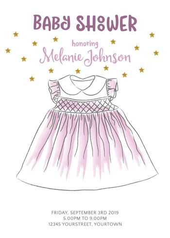 Lovely baby shower card  with golden glittering details, vector format