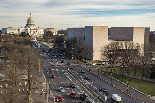 View of Capitol Hill from Constitution Ave in Washington DC, USA