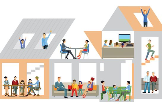 Family life in the house, illustration