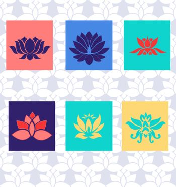 Lotus icon of six types Isolated vector sign symbol. Flat illustration of lotus vector icons Beauty flowers design logo Template.