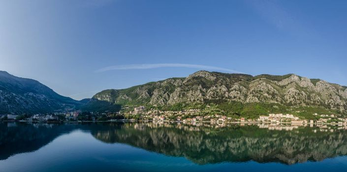valley and city with reflection in montenegro panorama view