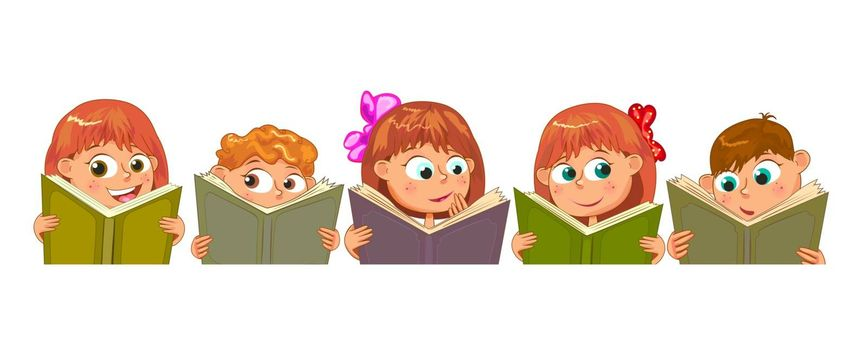 Little children read books. Children with books on a white background.