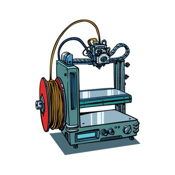 3D printer manufacturing isolated on white background