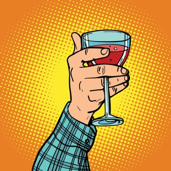 hand with a glass of red wine. Comic book cartoon pop art retro vector illustration