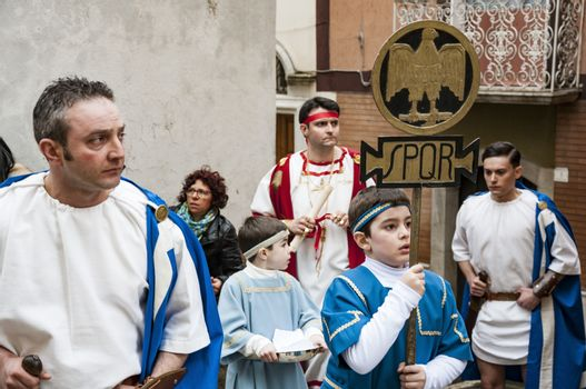 BARILE, ITALY - APRIL 18, 2014: Easter Religious Procession, the Holy Friday on April 18, 2014 in Barile, Basilicata Italy