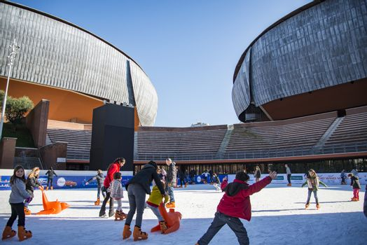 ROME - JANUARY 5, 2015: Ice skating ring outside the Auditorium Parco della Musica, large public music complex designed by Italian architect Renzo Piano on January 5, 2017 in Rome, Italy