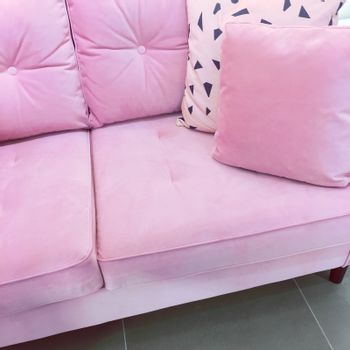 Pink velvet sofa with soft cushions
