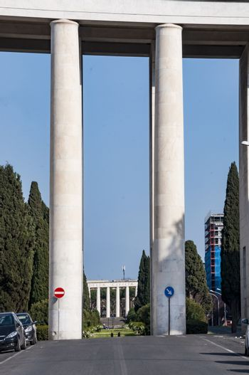 modern architecture in Eur district in Rome, Italy