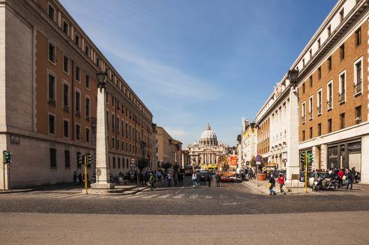 view of the St. Peter's church from Via della Conciliazione, Rome