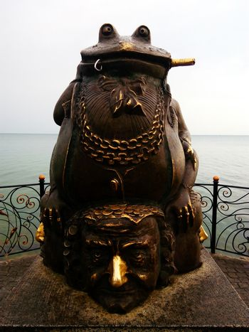 Monument to the toad. Seafront embankment of Berdyansk, Ukraine.