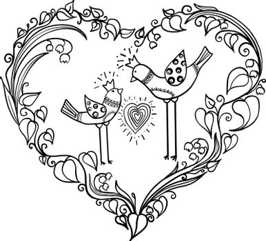 Minimalistic Simple Drawing Of Two Love Birds With Heart With Color Dekor Ornament Royalty Free Stock Image Yayimages Royalty Free Stock Photos And Vectors