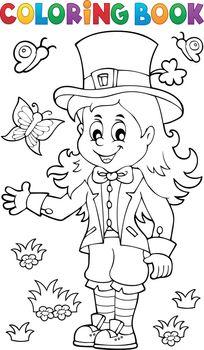 Coloring book leprechaun girl theme 1