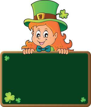 Leprechaun girl holding greenboard 1