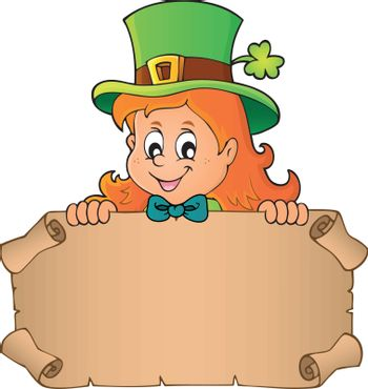 Leprechaun girl holding parchment 1