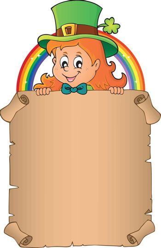 Leprechaun girl holding parchment 3