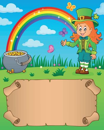Small parchment with leprechaun girl