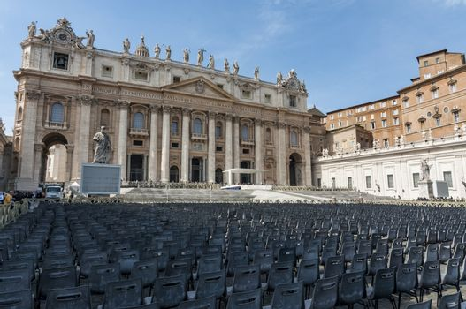view of the St. Peter's church in Vatican city
