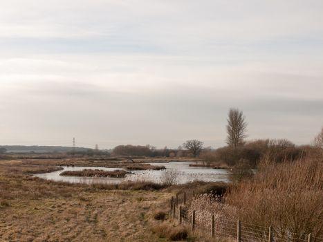 open reservoir scene outside spring summer pond water trees nature landscape; essex; england; uk