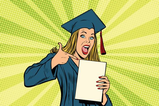 Female graduate points a finger at