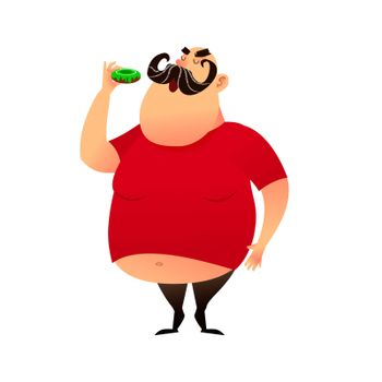 Fat guy takes a bite of a donut. Funny cartoon obesity man in a T-shirt with a naked belly. Puffy mustachioed big happy character. Unhealthy food and harmful lifestyles concept