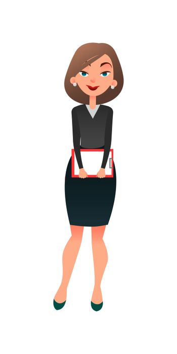 Job interview. Young cartoon woman candidate for work. A confident slightly worried businesswoman is waiting for the interview. Job search and acquaintance with the vacancy concept