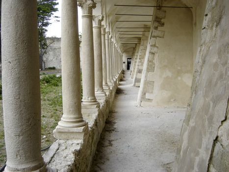 colonnade of the interior court of a monastery