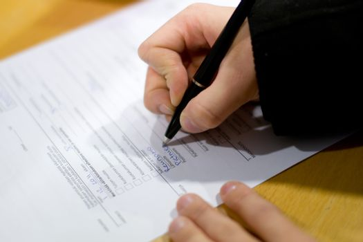 The person completes the application