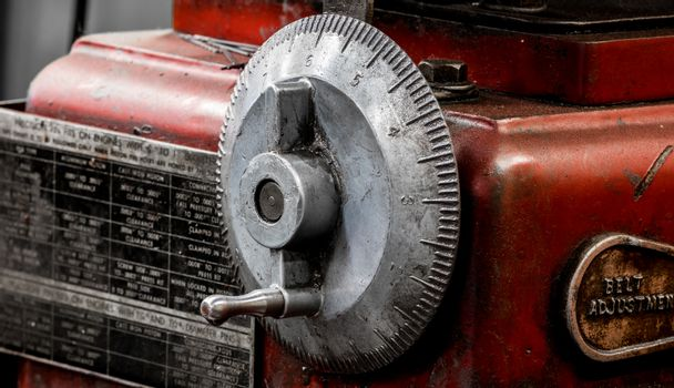 Vintage antique automotive machine shop honing machine dial indicator wheel and hand crank